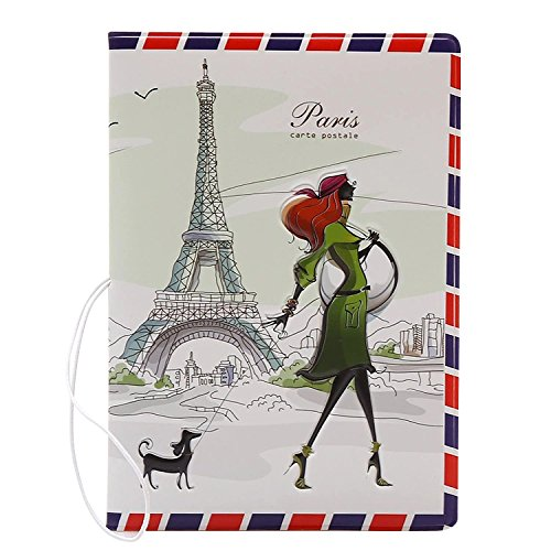 Coolrunner 1pcs Fashion Miss Love to Travel Passport Covers 3D Stereo Design Faux Leather ID Card Holders Stamp Envelope Passport Cases (Paris)