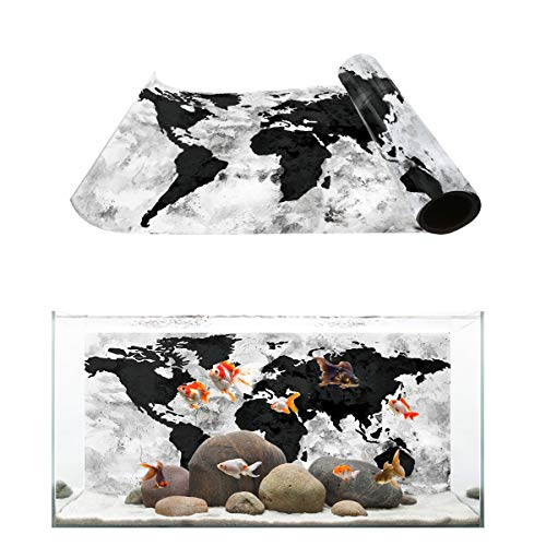 T&H Home Aquarium Décor Backgrounds - Retro World Map Black and White Fish Tank Background Aquarium Sticker Wallpaper Decoration Picture PVC Adhesive Poster, 30.4