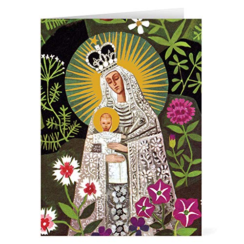 Religious Christmas Cards Boxed Holiday Cards Christmas Greeting Cards and Envelopes Foil-Stamped, Madonna of the Flowers Greeting: Merry Christmas Pk 15