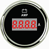 2'' Diameter -80A To 80A Red LED Digital AMP Meter Gauge Chrome Bezel Black Panel Fit 12V 24V Power Vehicle Bike