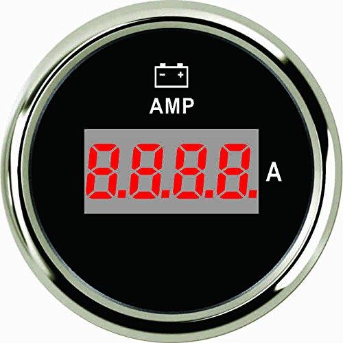 2'' Diameter -80A To 80A Red LED Digital AMP Meter Gauge Chrome Bezel Black Panel Fit 12V 24V Power Vehicle Bike by Sican