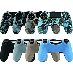LZETC Silicone PS4 Controller Skin, Design of Water Transfer Printing Skin Protector Cover Case for Sony PlayStation 4 Controller with Matching Thumb Grips, Set of 4 by LZETC
