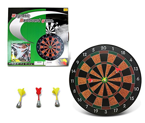Mozlly Dartboard Pro Magnetic Darts Play Set, 16 Inch Dart Board Gaming Room Man Cave Home Office Classic Active Game Easy Set Up Indoor Outdoors Sports Themed Kids Teens Adults Toys & Games