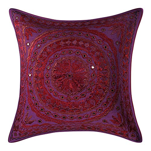 GANESHAM Indian Home Decor Floral Handmade Mirror Work Hand Embroidered Cotton Pillow Shams Sofa Cushion Cover