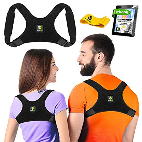 Posture Corrector: Upper Back Brace And Clavicle Support Plus Bonus Resistance Band. Correct Bad Posture, Rounded Shoulders, And Relieve Back And Neck Pain - For Men & Women (Reg/Medium) ()