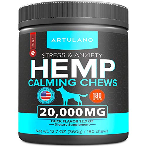 Hemp-Calming-Treats-for-Dogs-Made-in-USA-180-Soft-Dog-Calming-Treats-Aids-Stress-Anxiety-Storms-Barking-Separation-and-More-Valerian-Root-L-Tryptophan-Chamomile-Hemp-Oil-for-Dogs