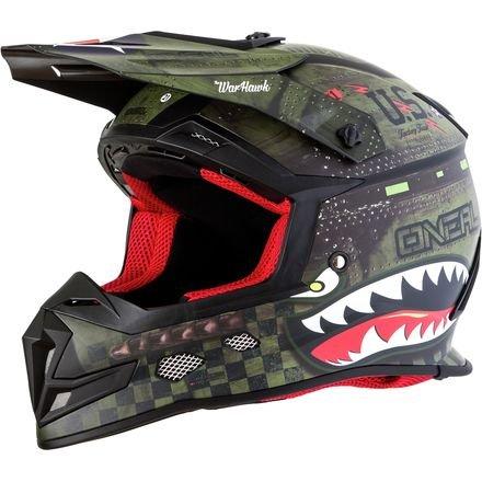 5 Off Road Helmet (O'Neal 5 SRS Mens Off-Road War Hawk Helmet (Black/Green, Medium))