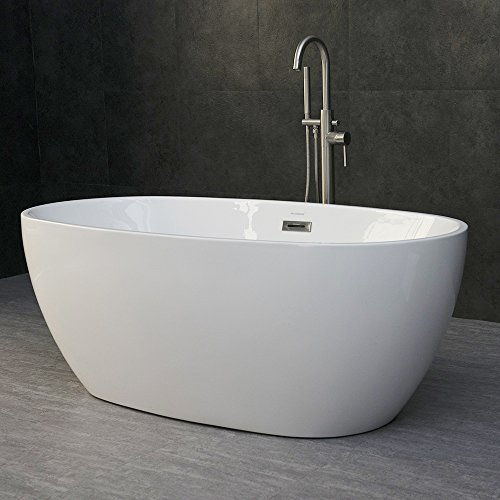 Great Features Of WOODBRIDGE 59 Acrylic Freestanding Bathtub Contemporary Soaking Tub with Brushed ...