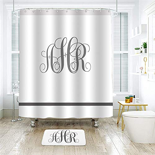 (ShowRoom16 Monogrammed Custom Personalized Your Name Family Name Shower Curtain Bathroom Decor 60 x 72 Inches with Matching Bath Mat 15.8 x 23.6 Inches 2 pcs Set)