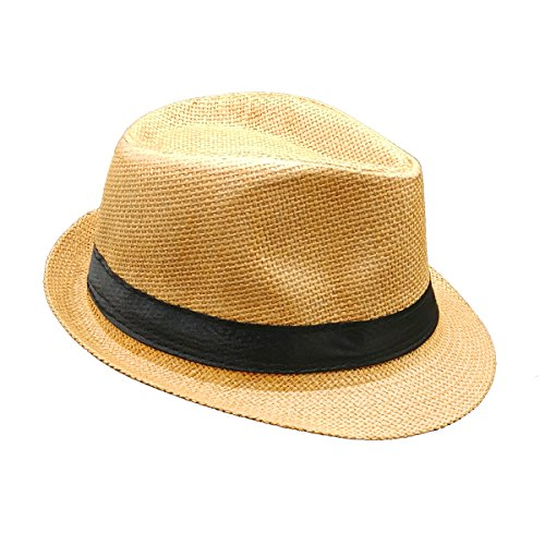 Banded Straw Fedora HAT for Kids Trilby Gangster Panama Classic Vintage Short Brim Style (Brown)]()