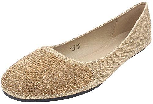 Enimay Donna Casual Dress Classy Balletto Scarpe Di Cristallo Piatte Imbottite Suola Business Casual Oro