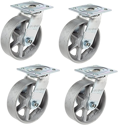 Albion-16-Series-6-Diameter-Cast-Iron-Wheel-Medium-Heavy-Duty-Zinc-Plate-Swivel-Caster-Roller-Bearing-4-12-Length-X-4-Width-Plate-1250-lbs-Capacity-Pack-of-4