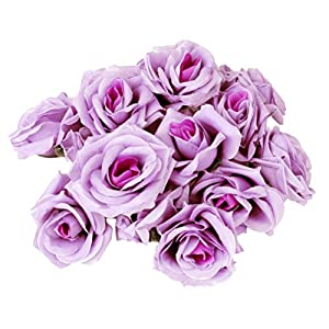KODORIA 20pcs Artificial Rose Flower Rose Flower Heads Craft Home Wedding Party Decoration - Light Purple 57