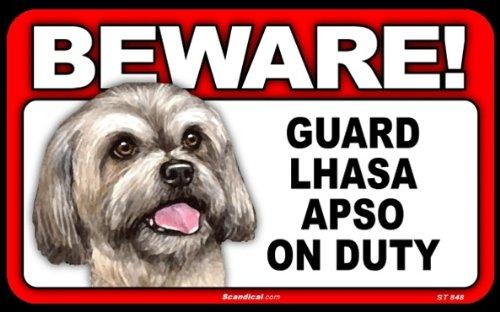 BEWARE Guard Dog on Duty Sign - Lhasa Apso