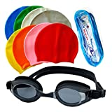 Produman Silicone Material Swimming Cap Goggles Ear Plug Combo for Men and Women