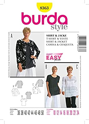 Amazon.com: 8363 Burda Shirt and Jacket Sewing Pattern Sizes ...