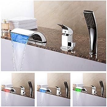 Homili Modern LED Waterfall Bathtub Faucet Widespread Bathroom Roman Tub  Filler With Hand Shower Set