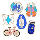 6 pcs Cute Cartoon Enamel Pin Set for Girls, Childhood Wish Series