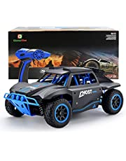 GizmoVine RC Cars 1/18 Scale 4WD High Speed Rock Crawler Vehicle 15.5MPH 2.4Ghz Radio Remote Control Off Road RTR Racing Monster Truck Short Course Beast Yellow With Mud Paint