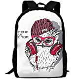 ZQBAAD Owl With A Hat Luxury Print Men And Women's Travel Knapsack