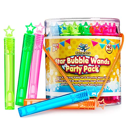(Star Bubble Wands Party Favors Pack Of 40 By Ratatoys: Fourty Mini Neon Bubble Wands | Odor-Free Non-Toxic Kids' Bath Toy/Birthday Treats Bubble Maker Toys for Kids | Outdoor Summer Events & Celebration Toy Gift)