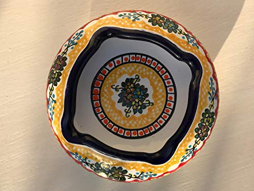 Mexico Pottery - Talavera Ceramic Ashtray 4'' Modern Art Design Authentic Puebla Mexico Pottery Hand Painted Design Vivid Colorful Art Decor Signed [Yellow W/Orange Circle]