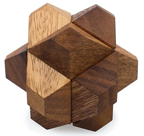 Blooming Star: Handmade & Organic 3D Brain Teaser Wooden Puzzle for Adults from SiamMandalay with SM Gift Box(Pictured)