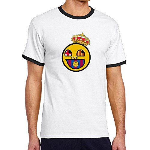 Custom Men's Two-toned Funny Smiley Logo A Famous Football Team Tshirt Black Size (Wilson Black Football Jersey)
