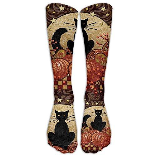 Moonlight Cat - Decorative Black Pumpkin Halloween Fall Spooky USA Knee High Graduated Compression -