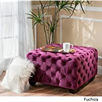 Christopher Knight Home Piper Tufted Velvet Fabric Square Ottoman Bench in (Fuchsia Purple)