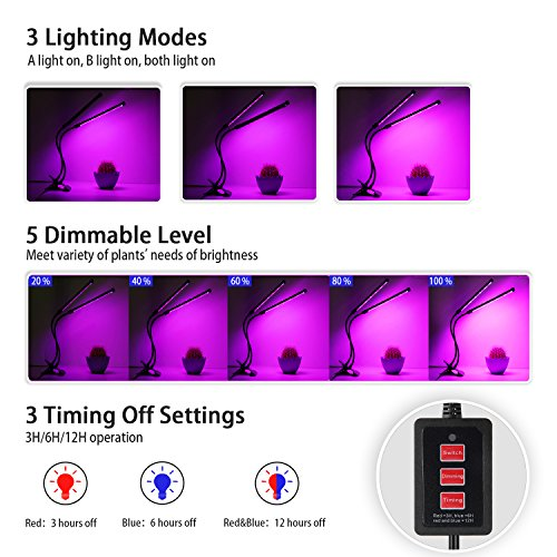 Lovebay Timing Function Dual Head Grow Light 36LED 5 Dimmable Levels Grow Lamp Bulbs with Adjustable 360 Degree Gooseneck for Indoor Plants Hydroponics Greenhouse Gardening [2018 Upgraded] by Lovebay (Image #1)