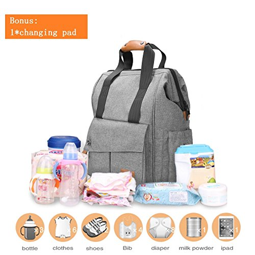 Diaper Bag Backpack Travel Multi-Function – Durable Unisex Large Capacity Changing Bag Insulated Pockets Stylish Smart Organizer for Mom Dad 17 Pockets Nylon (Gray)