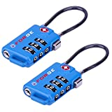 Bright Colors, TSA Approved Cable Luggage Locks 2 Pack Blue, Re-settable Combination with Alloy Body