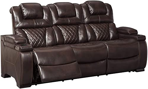 Signature Design by Ashley Warnerton Power Reclining Sofa with Adjustable Headrest Chocolate