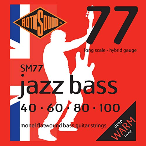(Rotosound SM77 Monel Flatwound Hybrid Bass Guitar Strings (40 60 80 100))