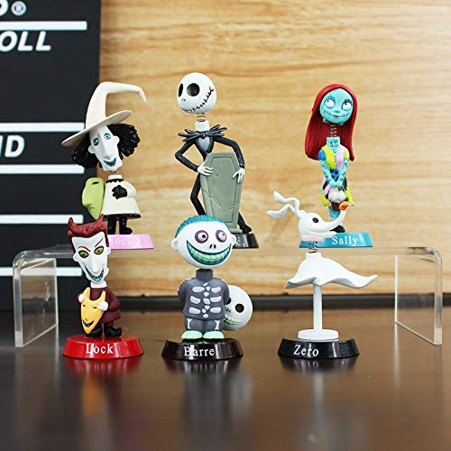 CHITOP 6Pcs/Set! Nightmare Before Christmas- Action Figure Toys 5-7CM - Jack Skellington Sally Collection Toy PVC Dolls ()