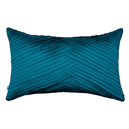 The Pink Champa Modern Soft Textured Modern Soft Textured Decorative Accent Throw Pillow Cover for Home Décor, 12x20, Royal Blue Teal