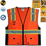 KwikSafety Class 2 Deluxe High Visibility Safety Vest with Reflective Strips and Pockets - Meets ANSI/ISEA Standards, Yellow Reflective Safety vest, Size Small/Medium
