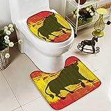 Toilet cushion suit iard Spain Flag Grunge Digital Clip Funky Lovely Home Bathroom Non slip, Microfiber Shag, Absorbent, Machine Washable