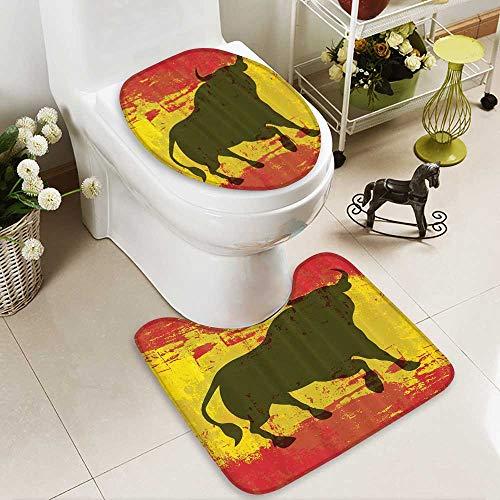 Toilet cushion suit iard Spain Flag Grunge Digital Clip Funky Lovely Home Bathroom Non slip, Microfiber Shag, Absorbent, Machine Washable by Muyindo