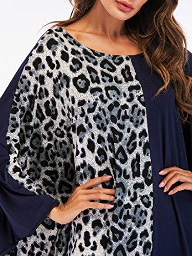 7003leopard Ababalaya Ansatz Damen Muslimisch Flügelhülse Kleid Weich Knöchellang Wasserfall O Drucken Langarm Lose wq7a1wgx4p