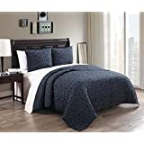 Alia King Size Quilt, Navy and Slate 102x88 Inches Coverlet 3pc set, Luxury 100% Cotton Embroidered Quilt by Royal Hotel
