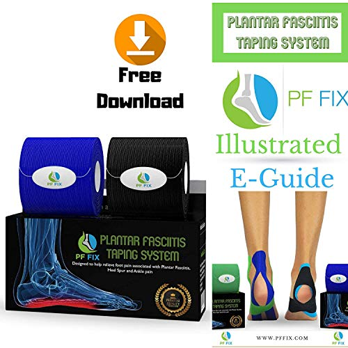 PFFIX Plantar Fasciitis Foot Tape - PreCut Cotton and Synthetic Arch Support Tape with E-Book, Physiotherapist Recommended for Running, Athletic Sports and Injuries. Over 30 Day Supply