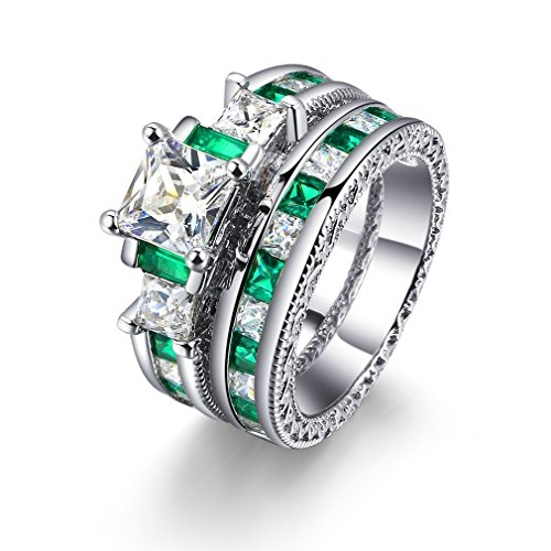- FENDINA Women Vintage 18K Gold Plated Anniversary Bridal Rings Set of 2 Pieces White CZ & Created Emerald Promise Rings for Couples