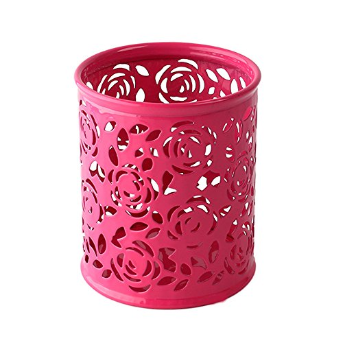 Plastic Pen Holder Hollow Flower Pattern Pen Pencil Pot Holder Container Multi Purpose Use Desk Stationery Stand Organizer for Makeup Brush Vase Roses Brush Pot Pen Holder Storage 3