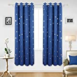 Deconovo Stars Foil Printed Thermal Insulated Ready Made Curtains Eyelet Blackout Curtains for Kids Room 46 x 72 Inch Blue One Pair