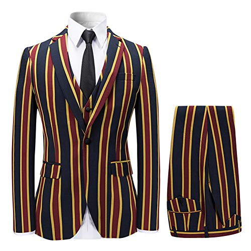 Men's Colored Striped 3 Piece Suit Slim Fit Tuxedo Blazer Jacket Pants Vest Set ()