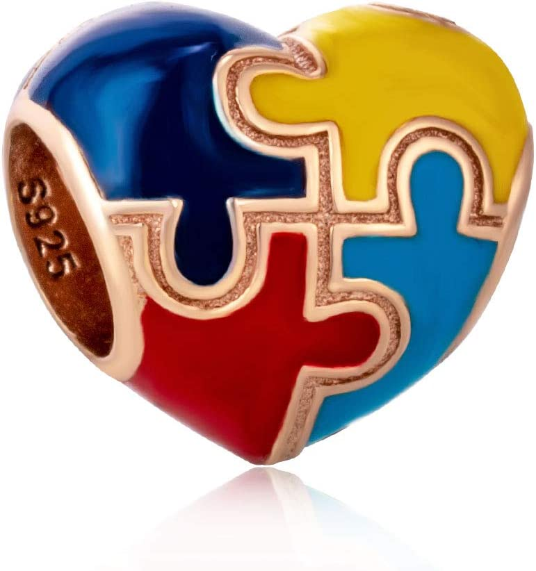 Autism With Color Heart-Shaped Charm Beads 925 Sterling Silver Beads Fit For Diy Charm Bracelet & Necklace