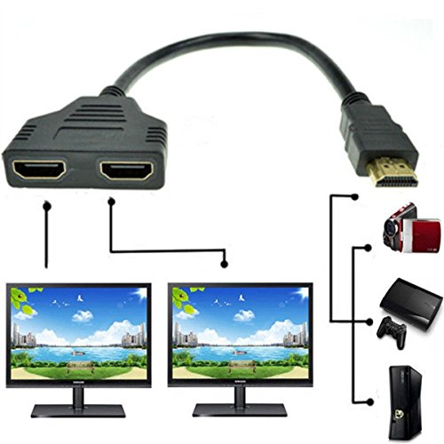 stank& 1080P HDMI Male to Dual HDMI Female 1 to 2 Way Splitter Cable Adapter Converter for DVD Players/PS3/HDTV/STB and Most LCD Projectors (black)