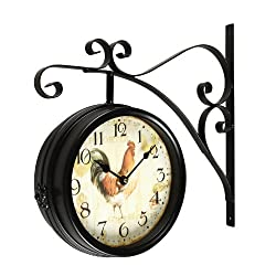 Joveco Vintage Style Iron Wall Clock with Scroll Wall Mount (Rooster)